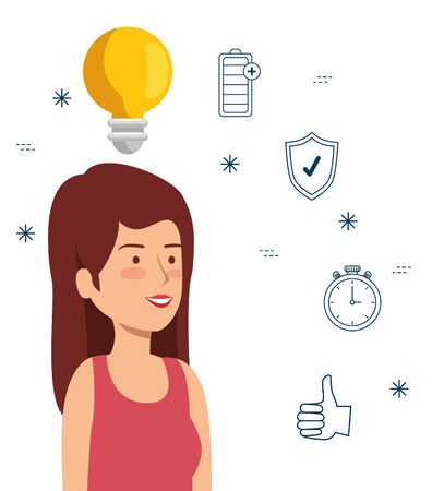 health woman with bulb idea to lifestyle balance vector illustration