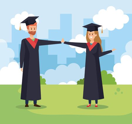 happy man and woman university friends with graduation rope vector illustration Vectores