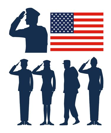 set usa flag with patriotic soldiers vector illustration