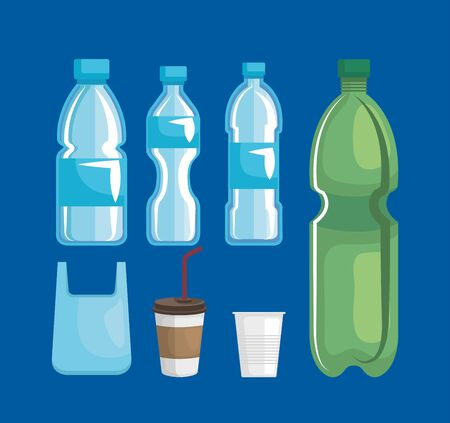 set of bag with toxic plastic bottles and cups vector illustration