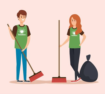 boy and girl volunteers with brooms and trash vector illustration