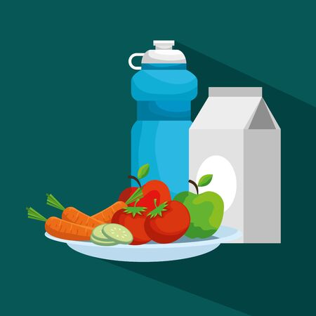 water bottle with milk box and fruits with vegetables vector illustration