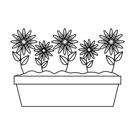 sunflowers in pot icon vector illustration design Stock fotó - 134306238