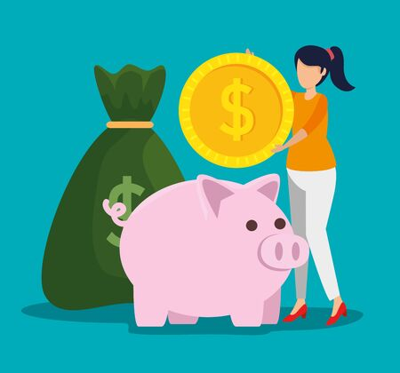 woman with coin and money bag with piggy vector illustration