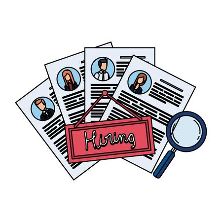 cv with hiring label and magnifying glass vector illustration design