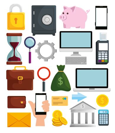set of online banking technology and digital transaction vector illustration