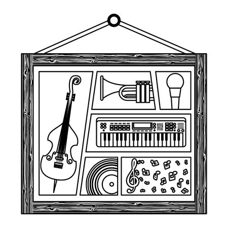 picture hanging with musical instruments vector illustration design