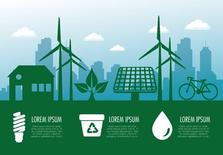 ecology banner with wind and solar sustainable energy vector illustration