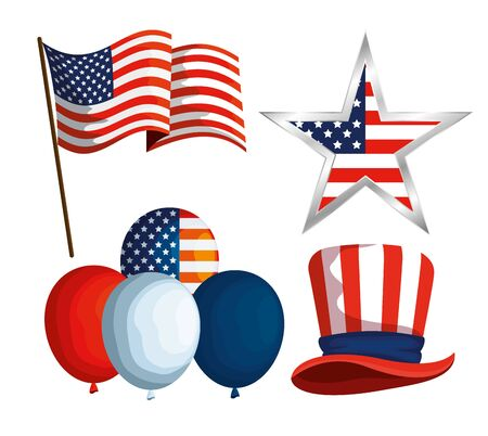set usa flag with star and balloons with hat vector illustration