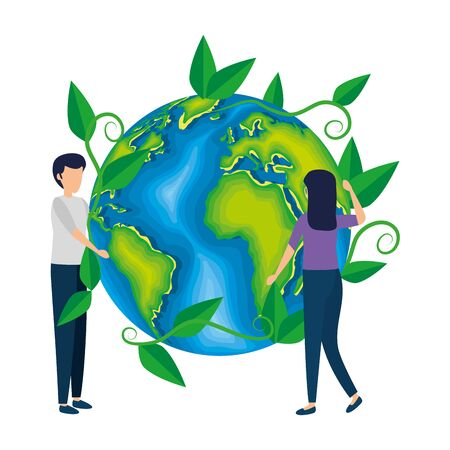couple with world planet earth and leafs vector illustration design
