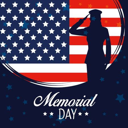 usa flag with soldier to memorial day vector illustration
