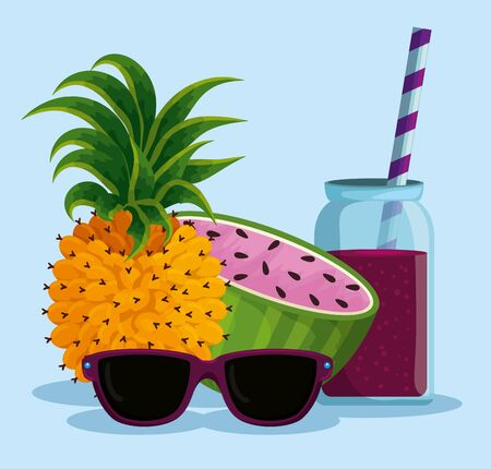 exotic pineapple and watermelon with beverage and sunglasses vector illustration
