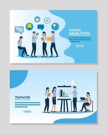 teamwork set scenes of analysis infographic vector illustration design