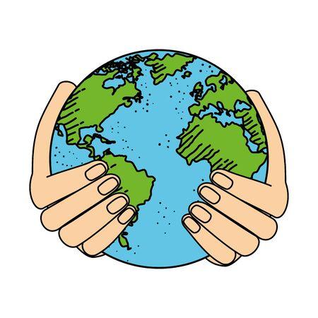 hands lifting world planet earth vector illustration design Zdjęcie Seryjne - 134310798