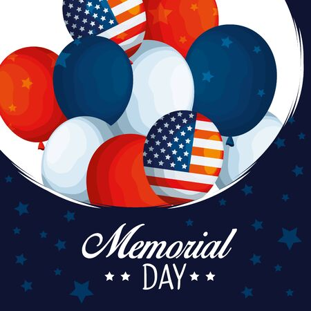 usa balloons flag to traditional memorial day vector illustration