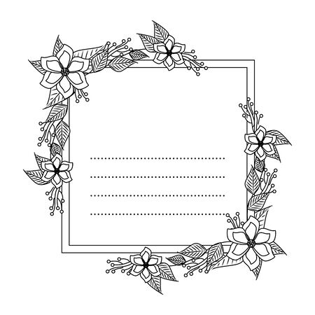 postcard with flowers and leafs decoration vector illustration design Zdjęcie Seryjne - 134310804