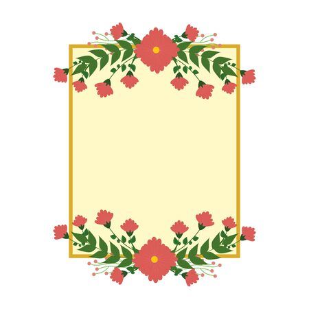 postcard with flowers and leafs decoration vector illustration design Zdjęcie Seryjne - 134310810