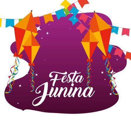 party banner with kites to festa junina vector illustration Illustration