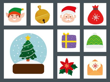 bundle christmas with decoration and characters vector illustration design