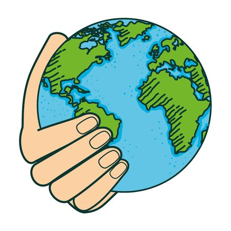 hand with world planet earth vector illustration design