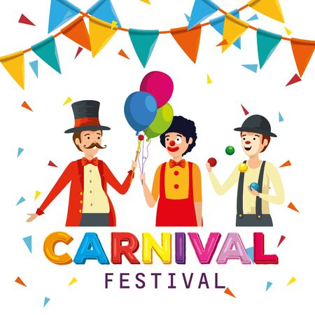 magician with clown and mime to carnival celebration with party banner vector illustration