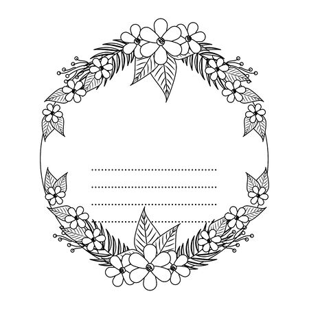 circular postcard with flowers and leafs decoration vector illustration design Zdjęcie Seryjne - 134312081