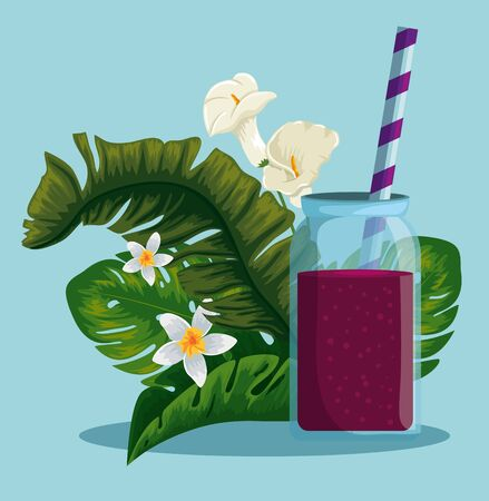 fresh beverage with exotic flowers and leaves vector illustration