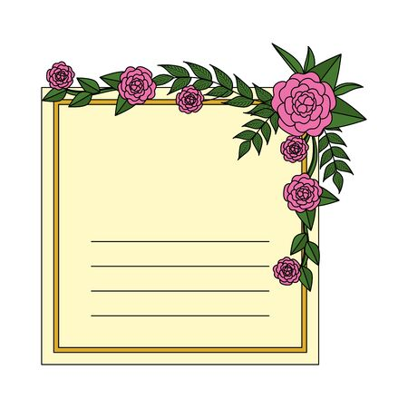 postcard with roses and leafs decoration vector illustration design Ilustracja