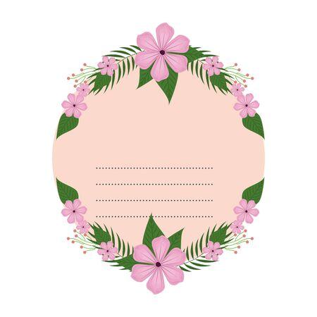 circular postcard with flowers and leafs decoration vector illustration design Zdjęcie Seryjne - 134312095