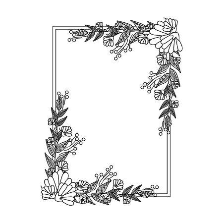 beautiful flowers with leafs elegant frame vector illustration design Ilustracja