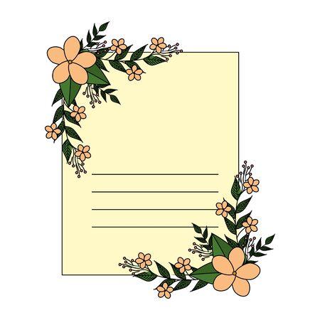 postcard with flowers and leafs decoration vector illustration design Zdjęcie Seryjne - 134314993