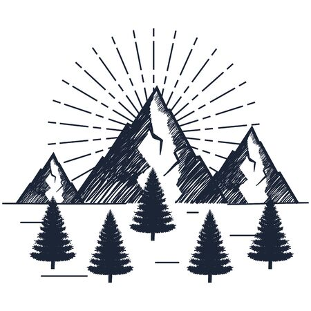 snowy mountains with pines trees to wanderlust explorer vector illustration