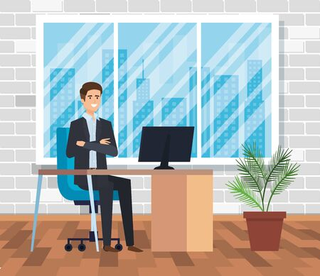 executive businessman with computer in the desk and plant vector illustration