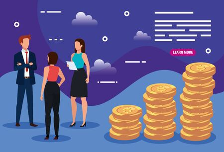 business people with pile coins vector illustration design Ilustracja