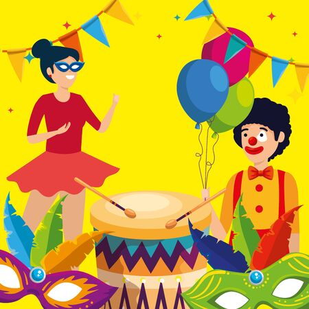 woman dacer and man clown with balloons and masks decoration vector illustration Ilustracja
