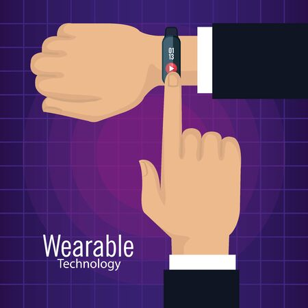 man hand with smartwatch technology and play video vector illustration