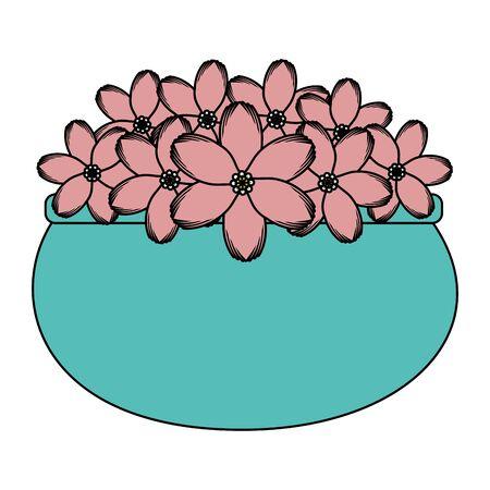 floral decoration in ceramic pot vector illustartion design Stock fotó - 134316121