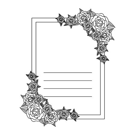 postcard with roses and leafs decoration vector illustration design Zdjęcie Seryjne - 134316400