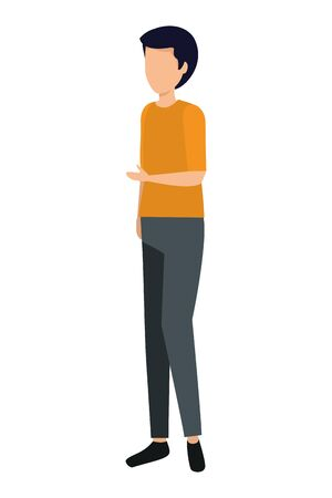 happy young man avatar character vector illustration design