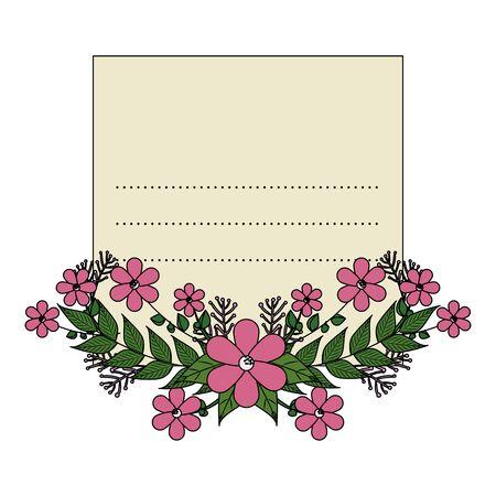 postcard with flowers and leafs decoration vector illustration design Zdjęcie Seryjne - 134316494