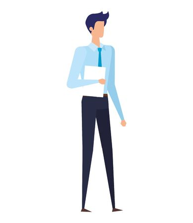 elegant young businessman with documents vector illustration design