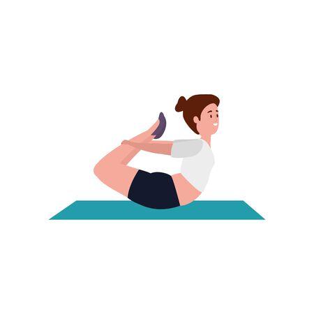 beauty woman practicing pilates position in mattress vector illustration design Ilustración de vector