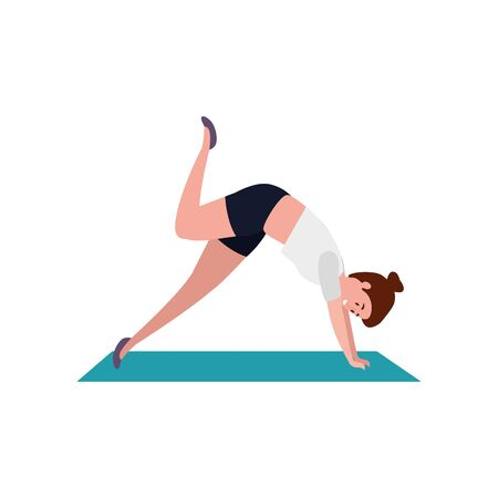 beauty woman practicing pilates position in mattress vector illustration design  イラスト・ベクター素材