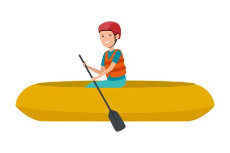 happy athletic boy in kayak character vector illustration design