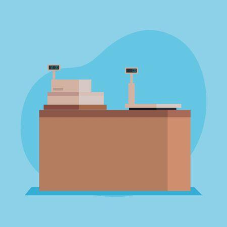 finance cash register machine to shop over blue background, vector illustration Ilustração