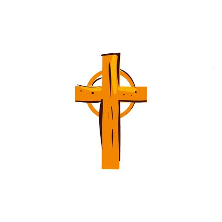 wooden cross catholic religious isolated icon vector illustration design