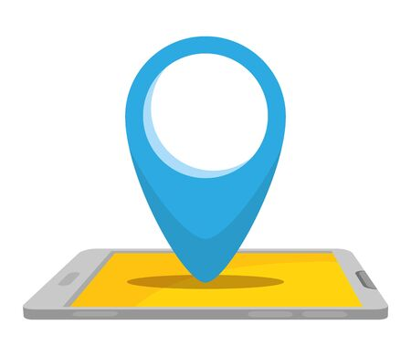 smartphone with pin pointer location vector illustration design