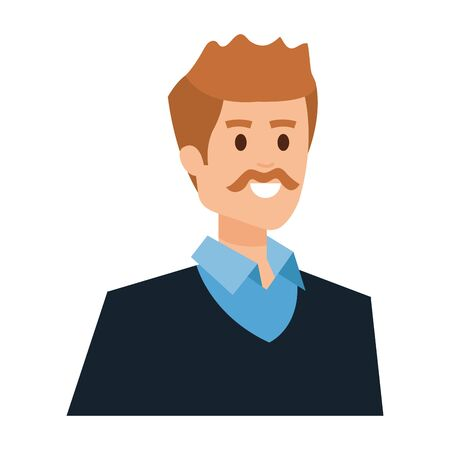 adult father with mustache character vector illustration design