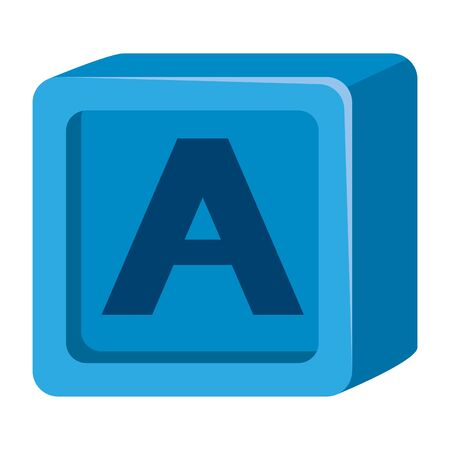 alphabet block toy baby with letter a vector illustration design