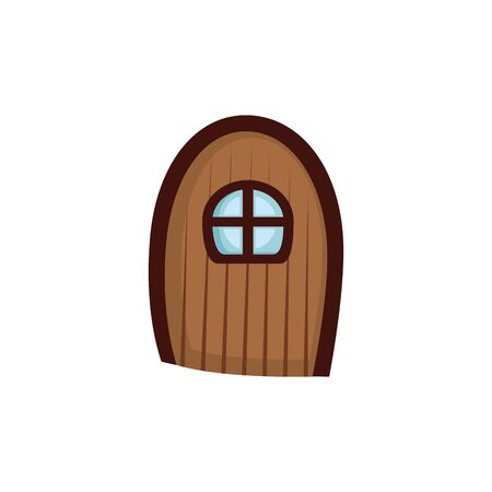 wooden door with window fairytale isolated icon vector illustration design